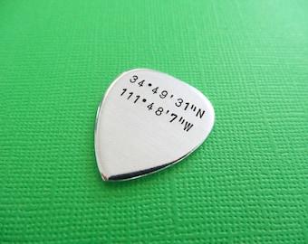 Coordinates Guitar Pick - Latitude Longitude Custom Guitar Pick - Hand Stamped Accessory - Keepsake Token