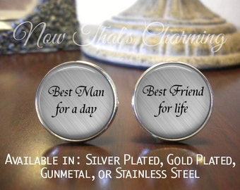 SALE! Best Man Cufflinks - Wedding Cufflinks - Gift for Best Man - Personalized Cufflinks- Cyber Monday