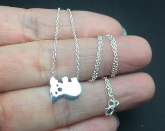 Silver Koala Necklace - Tiny Koala Necklace in Sterling Silver, Silver Koala Bear Jewelry - Australian Animal Necklace, Delicate necklace