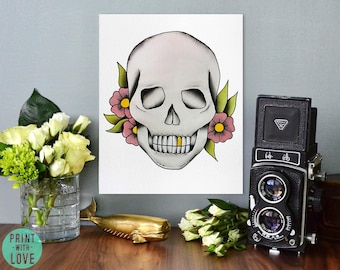 American Neo Vintage Traditional Tattoo Flash Skull with Gold Tooth and Flowers Watercolor Painting Print