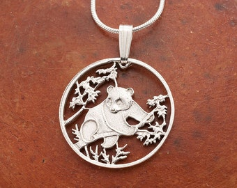 "Silver Panda Bear Pendant and necklace, Hand cut Chinese Panda coin jewelry, Silver Panda Bear Jewelry, 7/8"" in diameter, ( # 365S )"