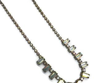Signed Weiss Necklace, Aurora Borealis Rhinestone Choker, Costume Jewelry