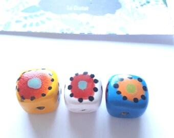 3 cube ceramic beads