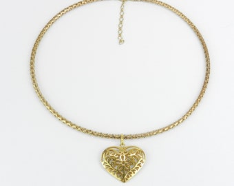 """RESERVED/SOLD 14K Yellow Gold Flexible Omega Cord Choker Heart Pendant Necklace Chain Adjustable 17-19"""""""