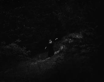 The Ritual - Afterlight Series, fine art photography print, dark, witch, moon, pagan, black and white photo