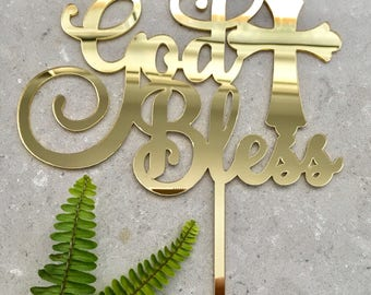 God Bless Acrylic Gold Mirror Cake Topper, Baptism, Christening, Holy Communion