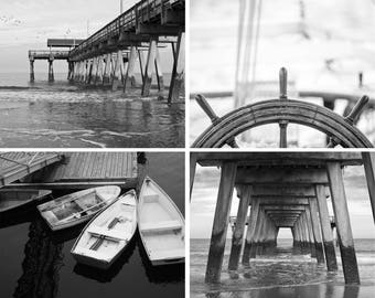 Boyfriend Christmas gift - One Free! - Black and white nautical print set - Photography art prints - Wall decor - Matching art - Sailing art