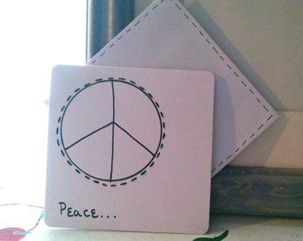 "CARDS BLANK EMBROIDERED Set of 6 ""Peace"""