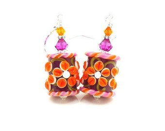 Pink Orange Earrings, Floral Earrings, Lampwork Earrings, Glass Earrings, Barrel Earrings, Bright Earrings, Colorful Earrings, Cute Earrings