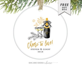 Gift for Couple Christmas Ornament, Personalized Couple Ornament, Our First Christmas Ornament, 1st Christmas Together Gift for Couples