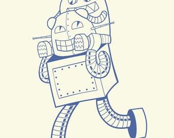 Robot and Child Print - pick your size - Robot wall art, robot kid art, Robot nursery decor, graphic robot art, robot themed nursery