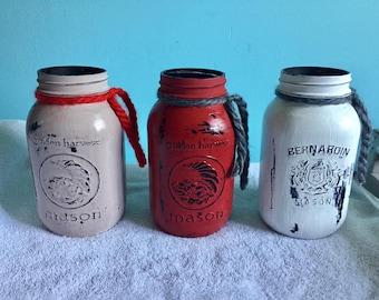 Set of 3 Mason jars-- red-white beige