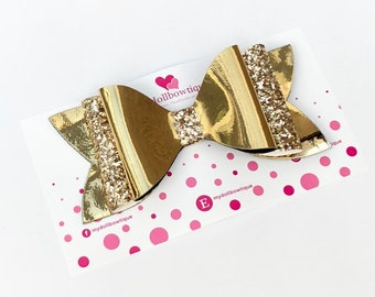 Gold glitter hair bows, mirror, glitter, hair accessories, girls hair bows