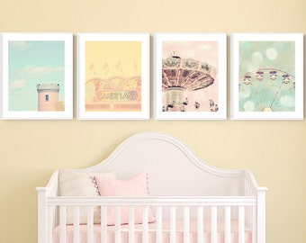 pastel carnival art, set of 4 prints, carnival prints, toddler girl room, pastel nursery art, carnival nursery decor, wall art photography