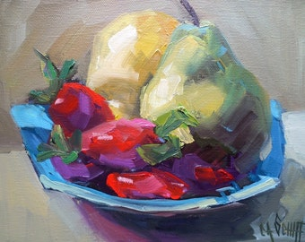 """Impressionist Fruit Still Life Oil Painting, Pears, Strawberries, 8x10x1.5"""" Original Oil on Gallery Wrap Canvas, Free Shipping in US"""