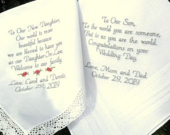 Embroidered Wedding Handkerchiefs Wedding Gift Daughter and Son gifts from Parents by Canyon Embroidery on ETSY