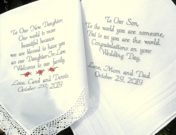 Special Gift For Daughter On Her Wedding Day: Embroidered Wedding Handkerchiefs Wedding Gift Daughter And