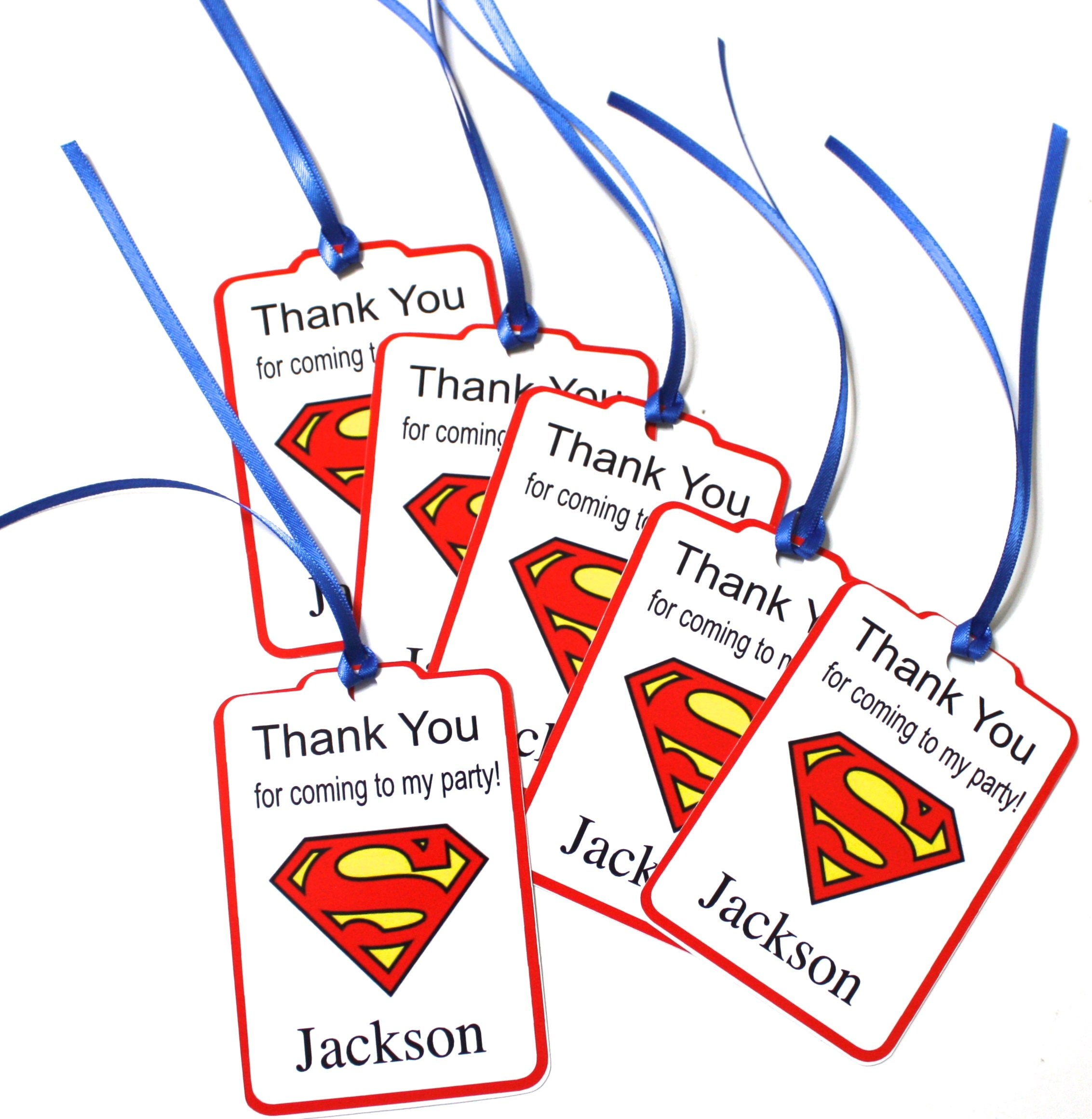 Superman SET of 18 Thank You Party Favor Tags Personalized