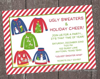 Ugly Sweater Christmas Party Invitation -1.00 each with envelope