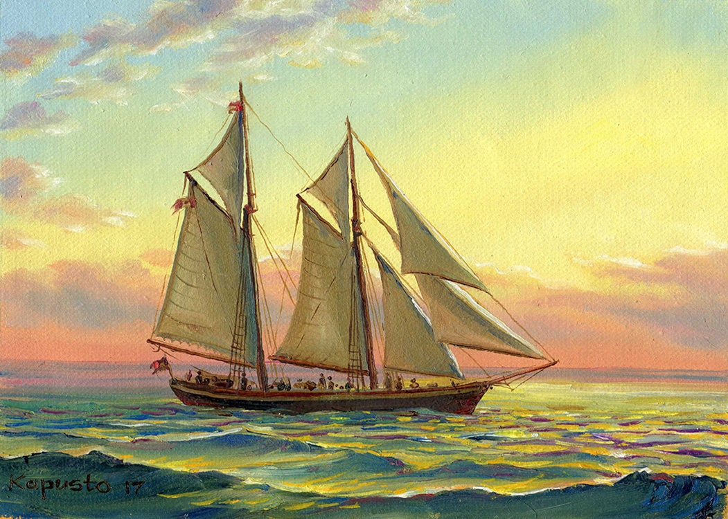Sunset sea sailing ship painting nautical painting original