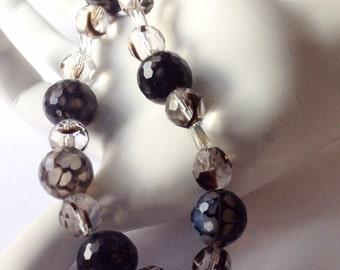 Black necklace. Glass necklace. Bead necklace. White necklace. Short necklace. Gemstone Necklace. Black white necklace. Agate necklace.