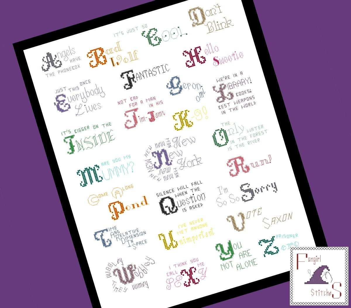 Doctor Who themed Alphabet Quotes Cross Stitch PDF Pattern