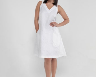 100% Linen Sleeveless V-Neck Dress with Pockets in White by Claudio Milano- Style 8308