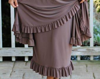 LillyAnnaKids Women's ELIZABETH knit ruffled pencil skirt modest
