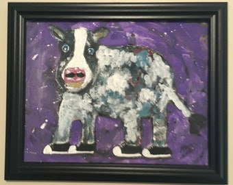 Cow with shoes painting/acrylic cow painting/silly cow with shoes painting/fauvism painting/cartoon style painting cow/cow wearing shoes art