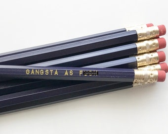 Purple Pencil Set. Engraved Pencils. Funny Pencils. Gangsta AF. Mature Pencil Set.