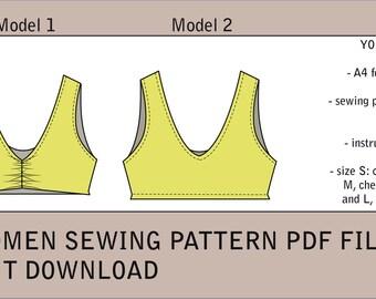 Tube bralette sewing pattern PDF