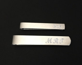 Personalized Tie Clip. Engraved Tie Bar. Hand Formed Aluminum Tie Bar. Groomsmen Gift. Wedding. Gift for Dad. Husband.Birthday.Father's Day