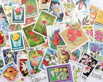 30 x Vintage Flower Stamps Postage Floral Botanical Roses Zinnias Tropical All Different Altered Paper Scrapbooking Junk Journal Paper