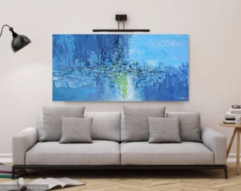 Large Abstract Original Painting, Blue Wall Art Canvas, Palette Knife Art, Impasto Textured Painting, Modern Contemporary, Art Made2Order