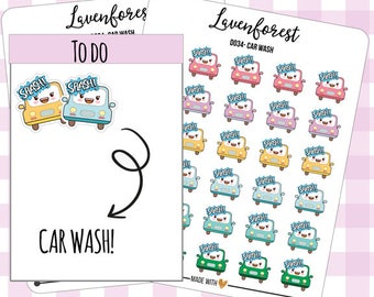 car wash stickers, planner stickers car wash, car stickers, car wash planner stickers, chore stickers, cute stickers, happy planner,  D0034