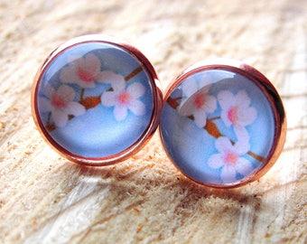 Earrings cherry blossom rose cabochon Earrings