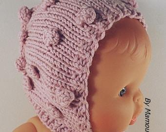 Baby bonnet toddler bonnet Paola Reina - Corolla 34 cms Color pink