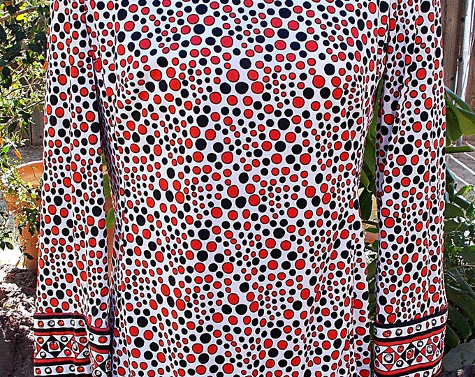 Vintage 60s MOD Jeremy by Alan Phillips Black Red White Psychedelic Circles Rhinestone Embellished Space-Age Go-Go Womens Tunic Mini Dress