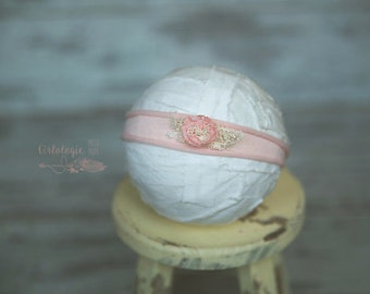 SALE * Blush Pink Jersey Knit *  Tieback * Headband *  Newborn Tieback * Toddler  *  Photo Prop*