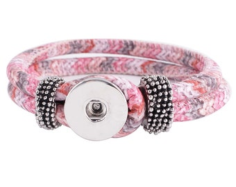 KC0206 ~ New Textile Multi-Colored 22cm Bracelet ~ Shades of Pink, Gray and White ~ Pretty!