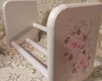 Book Holder Shabby Cottage Chic Hand Painted Victorian Pale  Pink Rose Wooden Book Stand