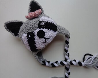 Newborn Girl Crochet Raccoon Hat- Newborn Photo Prop