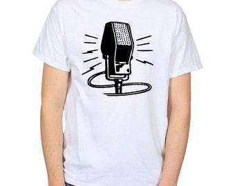 Vintage Radio Microphone T-Shirt, Retro Mic Shirt, DJ Gift, Music Graphic Tee, Gift for Singer, Music Lover Shirt