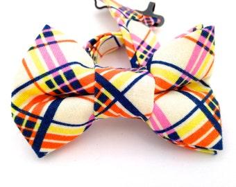 Plaid bow tie, plaid bow ties,  multicolor bow tie, pink plaid bow tie, blue plaid bow tie, orange plaid bow tie