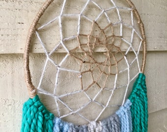 Coastal Cream and Aqua Handmade Dream Catcher Wall Hanging