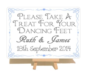 Personalised Dancing Feet Swirly Style Wedding Metal Sign Plaque & Wooden Easel