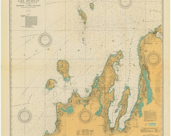 Lake Michigan - Manitou and Fox Islands Historical Map 1927