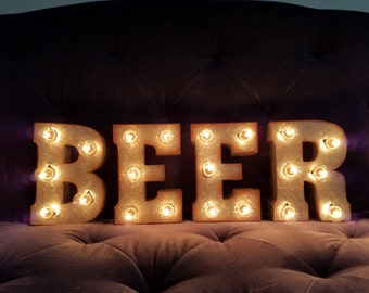 Light up bar sign etsy beer light up letters 7 marquee lights sign man cave bar decor custom colors aloadofball Image collections