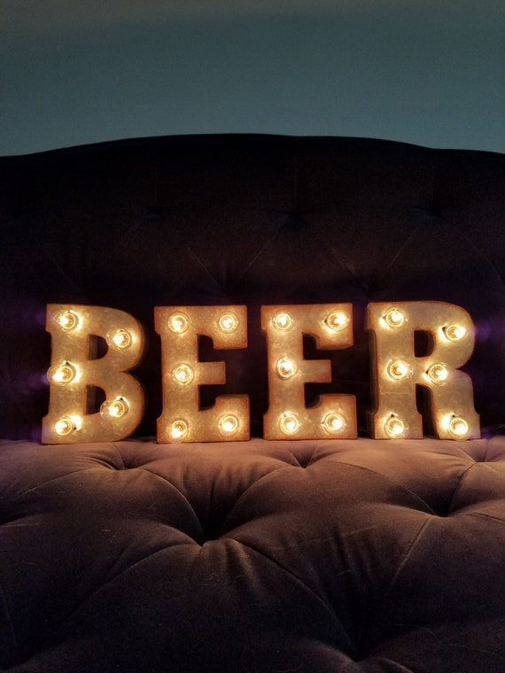 Beer light up letters 7 marquee lights sign man cave bar mozeypictures Image collections