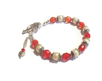 Valentine Bracelet Red Glass and Pearl Bracelet Heart Valentine Gift B51